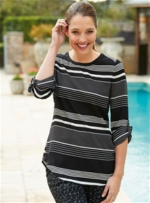 Stripe Georgette Tunic Top