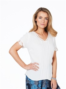 Cotswolds Lace Pintuck Top