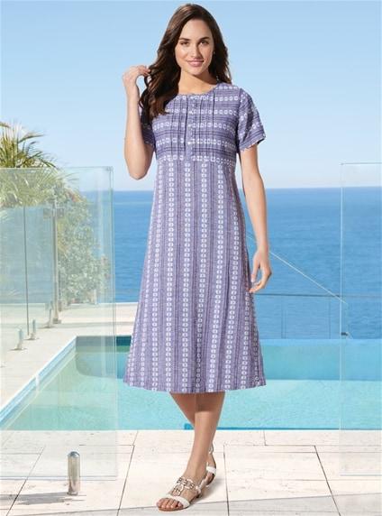 Linen Pintuck Dress Infashion