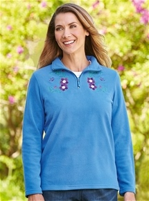 Embroidered Zip Neck Polar Fleece