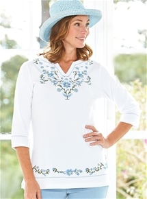 Embroidered Flowers Tunic