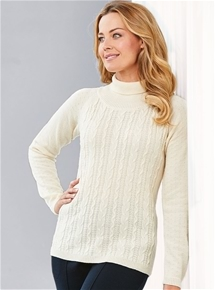 Thermal Cable Knit Turtleneck Sweater