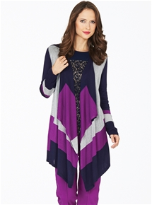 Midnight Iris Waterfall Cardigan
