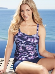Ruched Panel Tankini Top