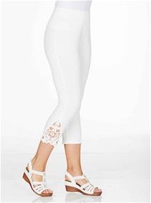 Lace Trim Crop Leggings