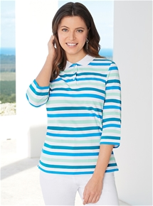 3/4 Sleeve Stripe Polo