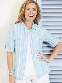 Crinkle Cotton Stripe Shirt