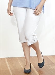 Pull-on Eyelet Trim Crop Pants [PLUS SIZE]