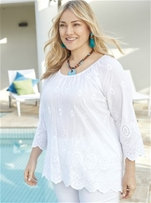 Embroidered 3/4 Sleeve Top [PLUS SIZE]
