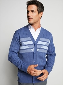 Mens Thermal Rib Knit Cardigan