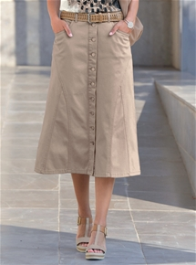 Button Front Flared Skirt