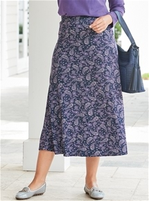 Wide Waist Printed Skirt