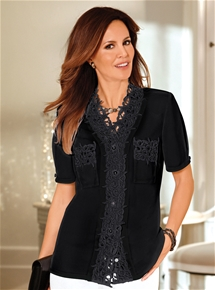 Elaborate Lace Trim Blouse
