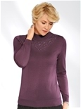 Embellished Flower Mock Turtleneck_19Q55_0
