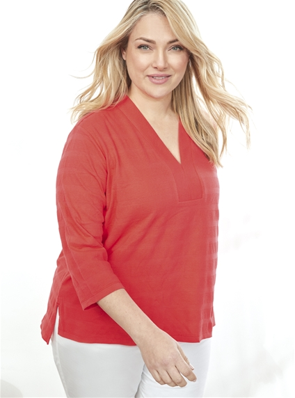 3/4 Sleeve Textured Tunic [PLUS SIZE]