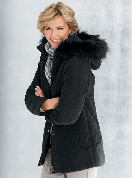 Detachable Hood Faux Fur Jacket